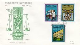 RWANDA - FDC UNIVERSITE NATIONALE DU RWANDA - CACHET 1er JOUR 29.9.75 KIGALI  /2 - 1970-79: FDC