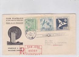 FDC-HOMENAJE A LAS NACIONES UNIDAS. CIRCULADO PARAGUAY, RECOMMANDE. OBLITERE SAN JOSE 1961,COSTA RICA.- BLEUP - Costa Rica