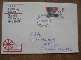 S014: GPO First Day Cover.GANDHI CENTENARY YEAR 1969.First Day Of Issue.13 August 1969. 1/6d .Manchester. - FDC