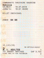 Ticket Train, La Cure (France, Jura) - Saint-Cergue - Nyon (Suisse), NstCM, Communauté Tarifaire Vaudoise , 2 Scans - Chemins De Fer