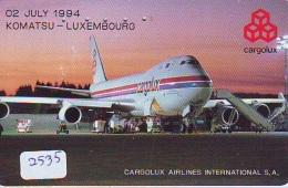 Télécarte  JAPON * CARGOLUX AIRLINES * LUXEMBOURG *  (2535) *  AVIATION * AIRLINE Phonecard  JAPAN AIRPLANE * FLUGZEUG - Avions