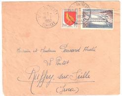 USSEL ENTREPOT Corréze Lettre 12 F Donzère Mondragon 3 F Blason De L'Aunis Yv 1078 1004 Ob 19 1 1957 - Frankrijk