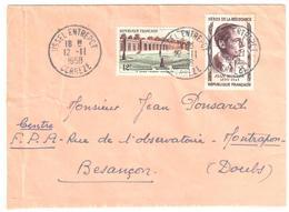 USSEL ENTREPOT Corréze Lettre Résistant 12 F Jean Moulin 12 F Grand Trianon Yv 1059 1100 Ob 12 11 1958 - France