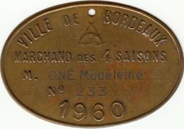Bordeaux -2 Plaques De, Marchand Des 4 Saisons, 1956 + 1960 - Professionnels / De Société