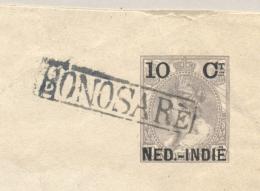 Nederlands Indië - 1906 - 10 Cent Opdruk OpWilhelmina, Envelop G18 Van Halte BONOSARÉ Naar Soerabaja - Nederlands-Indië