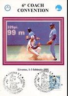 38288 Italia,  Special Card And Postmark Livorno 1991 Baseball Softball  Coach Convention - Honkbal