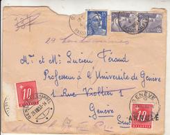 Lettre Taxée Hevetia De FRANCE  Vers GRENEVE - Postmark Collection (Covers)