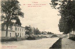 CPA - BRAM (11) - Aspect Du Pont De Saissac Sur Le Canal Du Midi, Péniche à Quai, En 1918 - Bram