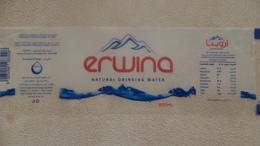 Egypte Étiquette D'eau Minérale 600ML Erwina (water Label) - Etiquettes