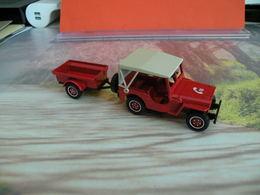 Véhicule De Pompier - Jeep Willys Avec Remorque - 1/43 - SOLIDO FRANCE - N°80 - Pompiers