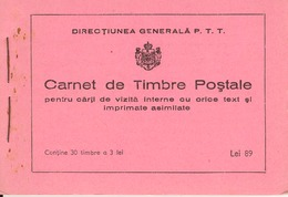 ROMANIA, 1939, Booklet 4, 30x3 Lei Orange (Mi 574) - Carnets