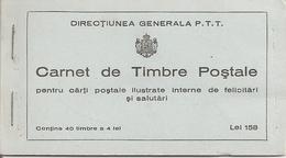 ROMANIA, 1939, Booklet 5, 40x4 Lei Carmine (Mi 575) - Carnets