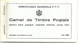 ROMANIA, 1939, Booklet 6, 40x5 Lei Grey (Mi 576) - Carnets