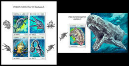 SIERRA LEONE 2018 - Water Prehistorics. M/S + S/S Official Issue. - Préhistoriques