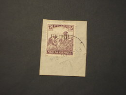 FIUME - 1918 MIETITORI  15 F. - TIMBRATO/USED - 8. WW I Occupation