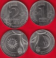 Moldova Set Of 2 Coins: 1 - 2 Lei 2018 UNC - Moldawien (Moldau)