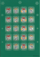 Aland 2001 MNH Sheet Of 20 Christmas Seals Hologram Tree Ornaments 4 Different - Aland