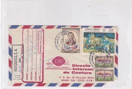 ENVELOPE AIRMAIL CIRCULEE 1970 HONDURAS TO USA RECOMMANDE MIXED STAMPS A PAIR- BLEUP - Honduras