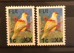 FIJI Birds Surcharge Fruit Dove 1c On 23c XX Two Settings MNH - Pájaros