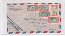 ENVELOPE AIRMAIL CIRCULEE 1954 GUATEMALA TO USA. MIXED STAMPS. CENTRAL AMERICAN BIBLE INSTITUTE - BLEUP - Guatemala
