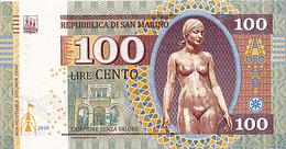 Rare San Marin  100 Lires   2018 UNC     Essai - Spécimen - San Marino