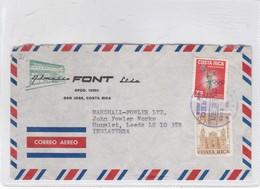 ENVELOPE AIRMAIL CIRCULEE 1971 COSTA RICA TO ENGLAND. FONT LTDA - BLEUP - Costa Rica