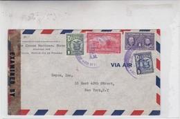 ENVELOPE AIRMAIL CIRCULEE CIRCA 1940's PANAMA TO USA MIXED STAMPS OPENED BY CENSOR, NATIOAL BANK THE CHASE - BLEUP - Panama