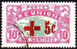 Réunion Obl. N°  81 - Réunion - Carte De L'ile - 10 Cts Rose Et Vert + 5cts Croix En Carmin - Oblitérés