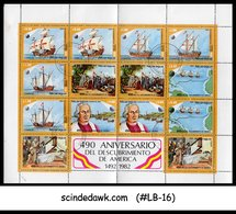 NICARAGUA - 1982 DISCOVERY Of AMERICA / COLUMBUS / SHIP - Min. Sheet CTO - Ships
