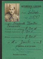 1948 Documento MILITAR Boletim Condução Automoveis MINISTERIO GUERRA. Identity Card SOLDIER Photo Document PORTUGAL - Documents Historiques