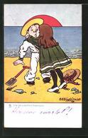 Künstler-AK George Edward Shepheard: Une Déclaration Énergique, Frau Küsst Ihren Liebsten Am Strand - Shepheard