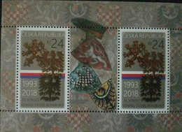 L) 2018 CZECH REPUBLIC, 25th ANNIVERSARY OF THE FOUNDINF OF THE CZECH REPUBLIC, SHIELD, SOUVENIR SHEET - Czech Republic