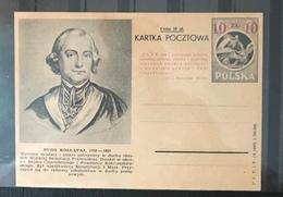 POLAND 1949 Postal Stationery PSC Birds Eagles Famous People 10z Overprint Mint - Uccelli