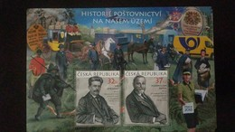 L) 2018 CZECH REPUBLIC, PRAGUE 2018, HORSE, PEOPLE, MAXIMILIAN FATKA, 37KC, JIRI STRIBRNY, 32KC, POSTMAN, CARS, MNH - Unused Stamps