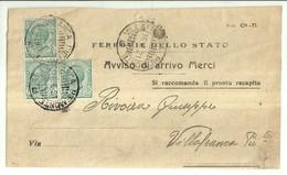 """1209 """" FERROVIE DELLO STATO-AVVISO DI ARRIVO MERCI - 1921 """" DOCUMENTO ORIGINALE - Italy"""