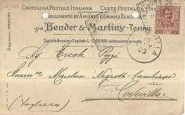 """1210 """" STABIL. DI AMIANTO E GOMMA ELASTICA GIA' BENDER & MARTINY - TORINO """" DOCUMENTO ORIGINALE - Commercio"""