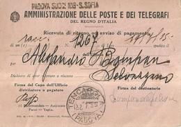 """1211 """" AMM. DELLE POSTE E DEI TELEGRAFI DEL REGNO D'ITALIA-RIC. DI RITORNO OD AVVISO DI PAGAMENTO """" DOCUMENTO ORIGINALE - Non Classificati"""