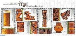 Hong Kong 2017 Bamboo Carvings S/s, (Mint NH), Sculpture  - Mushrooms - 1997-... Chinese Admnistrative Region