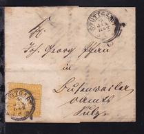 Wappen 3 Kr. Auf Brief Mit K3 STUTTGART 5 JAN 1862 Nach Busenwailer Amt Sulz  - Wurtemberg