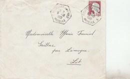 DECARIS 25C SUR LETTRE COURCELLES SUR NIED MOSELLE CAD AGENCE POSTALE 6/10/61 POUR SAILLAC - Postmark Collection (Covers)
