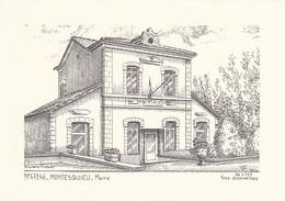 47----RARE---MONTESQUIEU---mairie---( Illustration Yves DUCOURTIOUX )-voir 2 Scans - Andere Sammlungen
