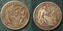 M_p> Perù 1/2 DIN(ERO ) 1903 In Argento , Bella Patina , Ottimi Rilievi - Pérou