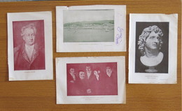 N° 4 PICCOLE STAMPE A. MAGNO-V. GOETHE-L. MASCHERONI CON AMICI-MESSINA PRIMA DEL TERREMOTO - - Stampe