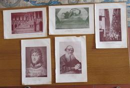 N° 5 PICCOLE STAMPE DI TOLSTO G. MURAT VICOLO NAPOLI SALA GIGANTI CREAZIONE - Stampe