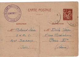 Centre De Séjour Surveillé De Fort Barraux 6.9.41Entier Iris 80 C - Postmark Collection (Covers)