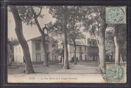 CPA ALGERIE - SETIF -La Place Barral Et Le Temple Protestant - TB PLAN EDIFICE Protestantisme + Jolie Oblitération - Setif