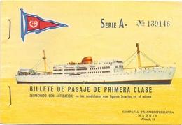 Biljet Billet Billete - Pasaje De Primera Clase - Schip Boat Compagnia Trasmediterranea Madrid - 1960 - Titres De Transport