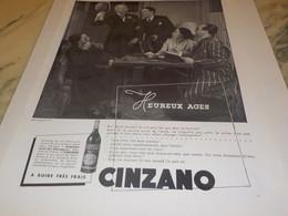 ANCIENNE PUBLICITE CINZANO HEUREUX AGES 1939 - Alcools