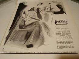 ANCIENNE PUBLICITE REUNION INTIME SOURCE PERRIER LA SOIF  1939 - Perrier