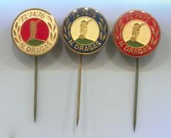 BOWLING ( Petanque ) - NIKOLA DRAGAS Zagreb Croatia, Vintage Pin, Badge, Abzeichen, 3 Pcs - Bowling